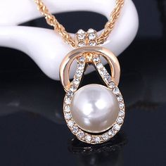 SHARE & Get it FREE | A Suit of Graceful Faux Pearl Zircon Necklace and…