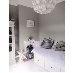 Spare bedroom & dressing room. The ikea Daybed is great for multifunctional spare bedrooms. Painted in pavilion grey farrow & ball #spacesaver #daybed #ikea #grey #farrow&ball #spareroom #interiorideas