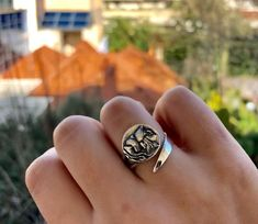 Sterling silver ring with Athina portrait coin of ancient greek goddes – Handmade with Love - Eleni Pantagis