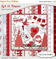 50% OFF TODAY Snow Scrapbook Kit, Red and White Snow Winter Digital Clip Art & Papers Snowman, CoCoa, Sled, Trees, Instant Download  #christmas #letitsnow #digiscrapdelights #scrapbooking #memories