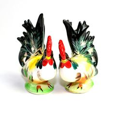 #Vintage #Antique #Rooster #Figurine Pair by Fern Importation Japan - Hand Painted #Ceramic #Statues for #Kitchen or Home #Decor - #Kitsch #Collectible  by OneRustyNail on #Etsy