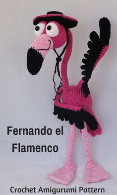 Fernando el Flameco is a crocheted amigurumi doll that will put a smile on your face, and put fear into the heart of every Bull you run across. You can create your own Fernando el Flameco with this downloadable pattern. #crochet #amigurumi #crochetdoll #ad #amigurumidoll #amigurumipattern #flamingo #instantdownload