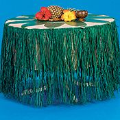 Green Raffia Table Skirt