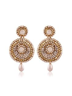 Innovative gold plated brass metal #Earrings with stones, pearls work. Item Code: JRUM536 http://www.bharatplaza.com/new-arrivals/jewellery.html