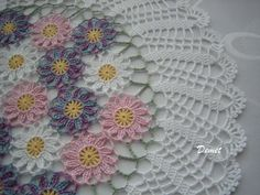 Hand Crocheted,Pastel, Wedding Gift Doily, NEW, made by DEMET. $45.00, via Etsy.