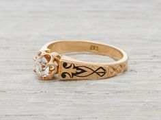 .35 Carat Gold Victorian Engagement Ring