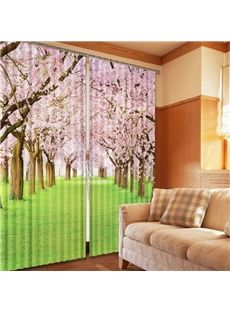 Romantic Cherry Blossoms 2-Piece Polyester 3D Curtains
