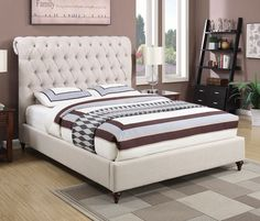 Devon+Beige+Upholstered+Bed