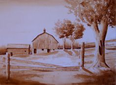Watercolor monochrome of old farm painted by Danielle Beaulieu http://www.danielleswatercolours.ca/