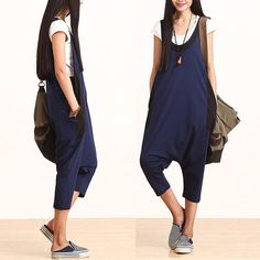 Mixed colors casual cotton harem pants strap / wild by dreamyil, $110.00