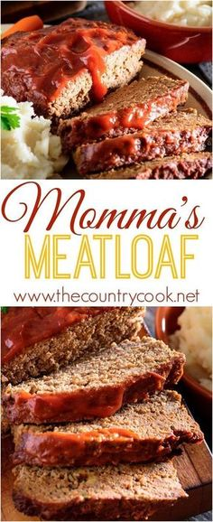 Momma's *BEST* Meatloaf. Moist, flavorful and delicious. This recipe makes making and eating meatloaf fun! Beef Dishes, Food Dishes, Main Dishes, Meat Recipes, Cooking Recipes, Healthy Recipes, Amish Recipes, Cooking Ideas, Ground Beef