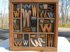 Letter W Old Letterpress Printing Type Graphic Design Wood Metal Copper 44 K 's    I love these boxes, Christine!