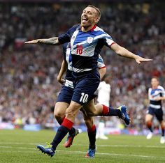 Craig Bellamy celebrates last night after becoming the first British man to score in Team GB colours in 52 years.