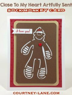Close To My Heart Artfully Sent Cricut Cartridge Sock Monkey card #Cricut
