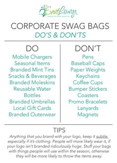 This Graphic is most helpful when planning Corporate Swag Bags. - This Graphic is most helpful when planning Corporate Swag Bags. The Plan, How To Plan, Planning School, Party Planning, Event Planning Checklist, Wedding Planning, Business Launch, Business Marketing, Event Marketing
