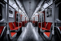 Title - A Subway Car in Toronto Photographer name - Roland Shainidze Description of place Downsview subway station, last stop to the northbound, Toronto, Ontario, Canada. Toronto Photography, Hdr Photography, Splash Photography, Popular Photography, Wedding Photography, Color Splash, Color Pop, Color Tones, Rouge