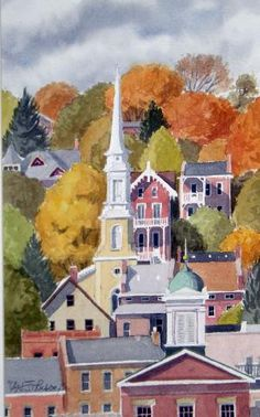 """Watercolor, """"Autumn in Galena"""" by Carl Johnson"""