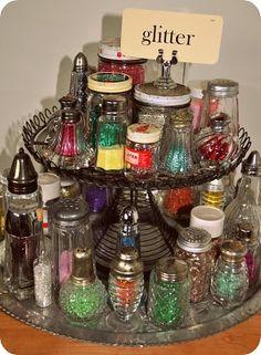 GLITTER in antique salt shakers!