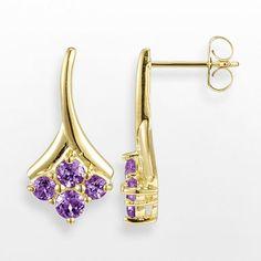 18k Gold Over Sterling Silver Amethyst Drop Earrings