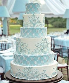 So Beautiful French Blue And White Wedding Cake Design