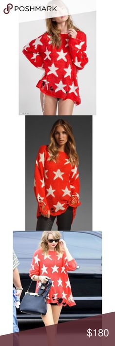 LENON SEEING STARS SWEATER in FIRE RED💋 JOIN THE CELEBS IN THE FAMED WILDFOX LENON SEEING STARS SWEATER. Lightweight with its rips and Popping Design this Piece will take you through all Seasons. OVERSIZED!!!!!. THIS is an XS but Will easily Fit a S and still be OVERSIZED. WEAR over a White Sleeveless T or for more warmth over a White Turtle Neck Cotten T. Fabulous! *️⃣PRICE iS FIRM unless BUNDLED.*️⃣Sorry No Trades or Offers. Wildfox Sweaters Crew & Scoop Necks