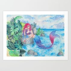 """Mermaid Lagoon"" by ARiA Illustration print on Society6"