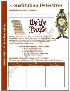 Here is a creative way to teach your students about the US Constitution! They become detectives and have to find the answers to the questions. Great for grades 5 and up! $