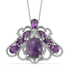 Liquidation Channel | Siberian Charoite and Amethyst Pendant with Chain in Platinum Overlay Sterling Silver (Nickel Free)