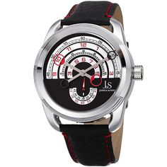 73ed00666d8 Joshua   Sons Retrograde Arch-Themed Sporty Red  Strap Watch Preto  Avermelhado