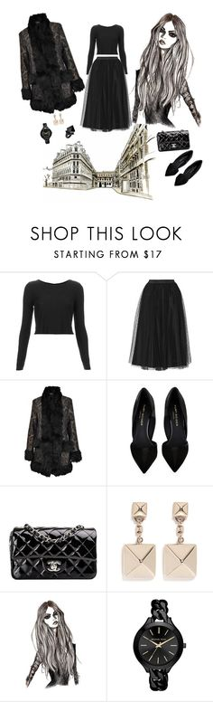 """""""Ouï Ouï Mon Chérie"""" by fashionizmypassion ❤ liked on Polyvore featuring Topshop, RED Valentino, MINKPINK, Kurt Geiger, Chanel, Valentino, Michael Kors and Macabre Gadgets"""