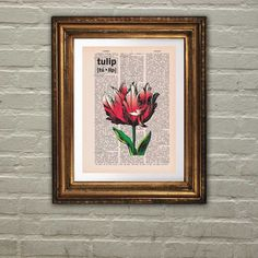 Dictionary Page Print: Vintage Pink Tulip Art by PrintsofRogues