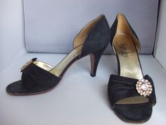 Rayne black velvet & diamonte evening shoes 1980's