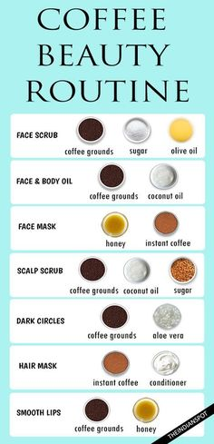 Homemade beauty products using coffee. Remedies for dark circles, hair and scalp. DIY face mask, face and body oil and more.