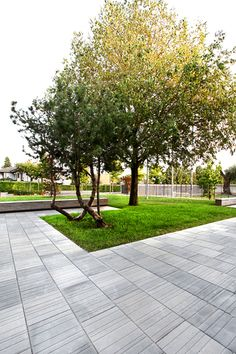 stone paving with grooved pattern
