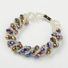 Charming Crystal Bracelet, with Seed Beads and Brass Magnetic Clasp