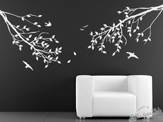 Branches with Leaves and Birds One-Color Wall Decal  by DecalLab