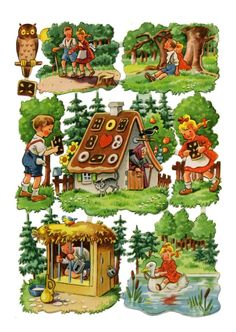 Hansel and Gretel Die-cuts paper scraps decoupage. Vintage Mom, Vintage Cards, Vintage Paper, Vintage Baby Pictures, Vintage Images, Antique Illustration, Children's Book Illustration, Gingerbread House Template, Hansel Y Gretel