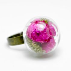 Dried natural pink flower in globe ring by thestudio8 on Etsy, $21.00