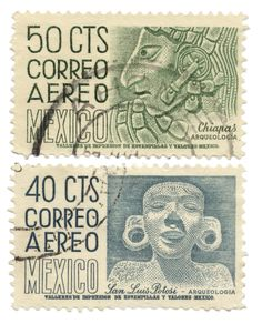 Set of 2 vintage Mexican postage stamps
