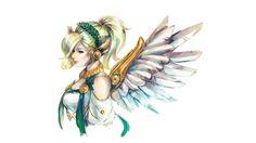 Mercy, angel, wings, overwatch, fan art wallpaper