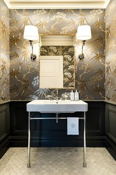 Gorgeous Wallpaper Ideas for Your Powder Room --- Gold is one of the hottest colors of the season