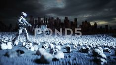 Military robot and skulls of people. Military Robot, Company Brochure, Video Footage, Stock Video, Apocalypse, Stock Footage, Skulls, Concept, People