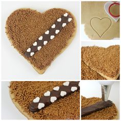 Heart shaped Star Wars Wookiee Cookies for Valentine's Day