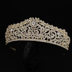 Gorgeous Bridal Tiara feel like the princess your are ....These gorgeous tiaras are made in silver plating or gold plating ...Tiara does have a front comb for easy securing ....Austrian Crystals ...sparkly ..Vintage inspired ...feel free to convo me if any questions this masterpiece item ...thanks for looking ...Your business is appreciated ....more hair accessories at :https://www.etsy.com/shop/vintage4everbeauty?section_id=18054873