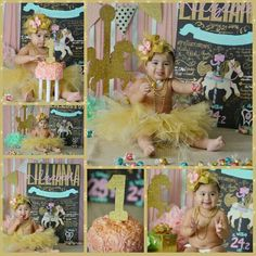 Pink mint gold carousel cake smash first birthday lillianna elizabeth #lillibeth