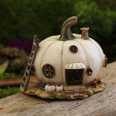 Miniature Dollhouse FAIRY GARDEN ~ White Pumpkin Fairy House ~ NEW in Home & Garden, Home Décor, Figurines | eBay