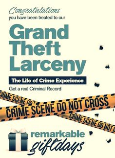 Have you always dreamt of living on the wrong side of the law Our joke Grand Theft Larceny Gift Experience claims to offer you the opportunity to spend a day with a criminal gang. #grandtheft #crime #criminal #prankgift #jokegift #crimescene #prank