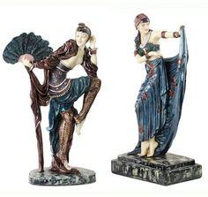 2 Piece Sunburst and Fan Dancer Art Deco Dancer Figurine Set