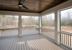 HUGE screened in porch complete with an outer grilling porch! HUGE screened in porch complete with a Screened Porch Designs, Screened In Deck, Screened Porches, Screened Porch Decorating, Custom Home Builders, Custom Homes, Patio Design, House Design, Backyard Designs