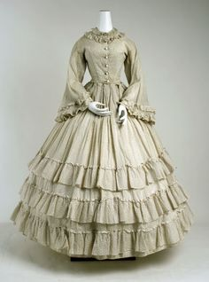 Printed Cotton Dress, ca. 1860  via The Met